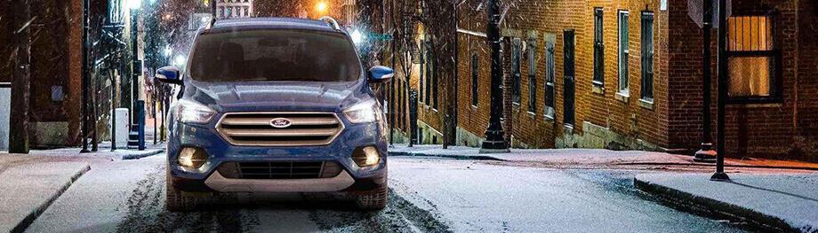 2018 Ford Escape blue in snow