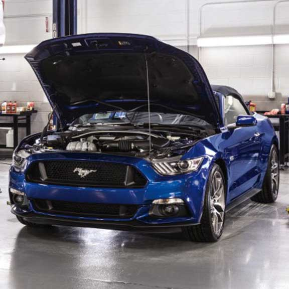 Ford Mustang car being checked