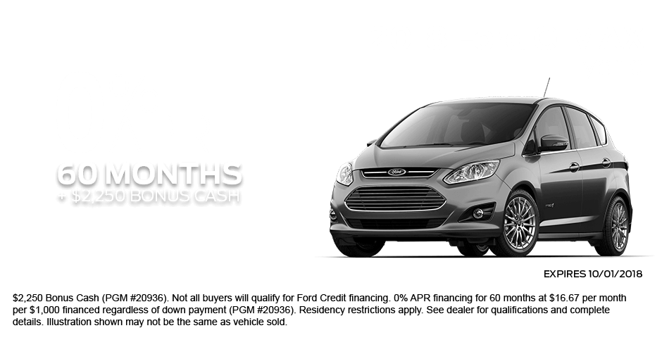 Check out these new car finance specials on the all new Ford C-Max. Contact our dealership in Dickinson for more details!
