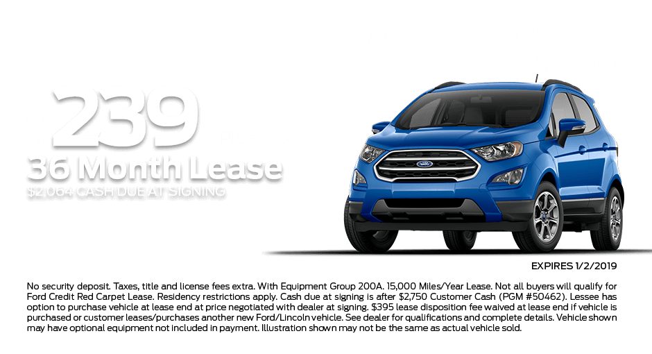 Check out these new car lease specials on the all new Ford EcoSport. Contact our dealership in Dickinson for more details!