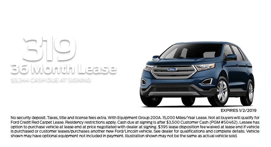 Check out these new car lease specials on the all new Ford Edge. Contact our dealership in Dickinson for more details!