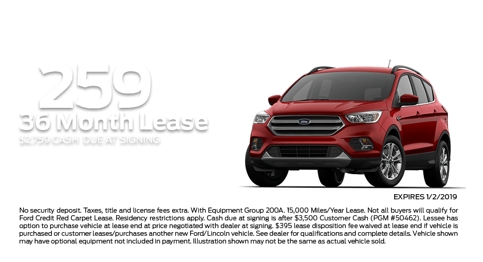 Check out these new car lease specials on the all new Ford Escape. Contact our dealership in Dickinson for more details!