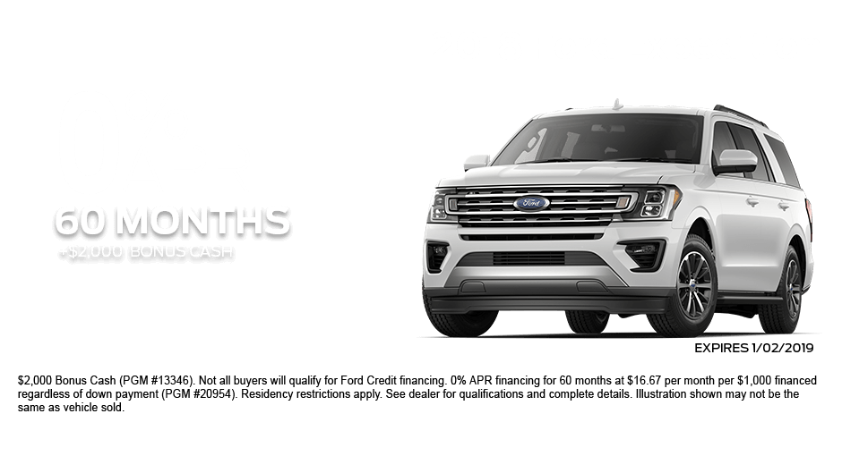 Check out these new car finance specials on the all new Ford Expedition. Contact our dealership in Dickinson for more details!