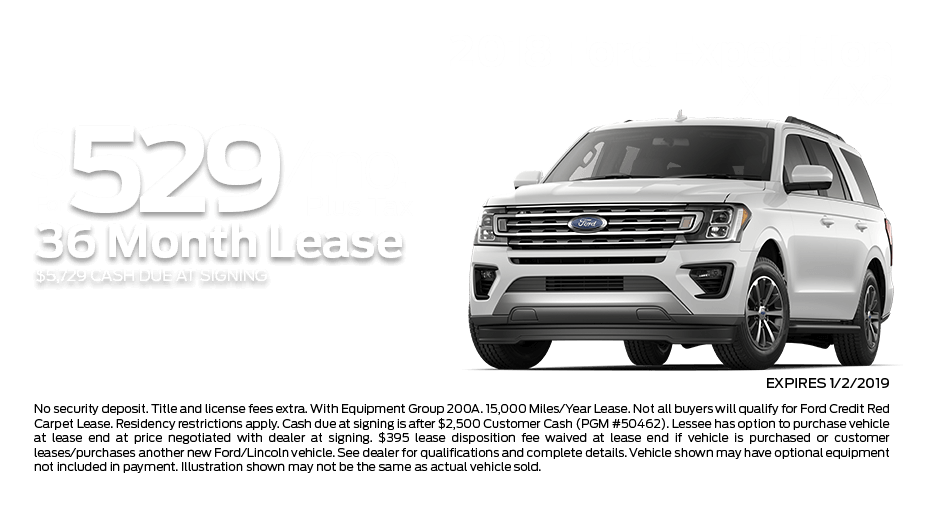 Check out these new car lease specials on the all new Ford Expedition. Contact our dealership in Dickinson for more details!