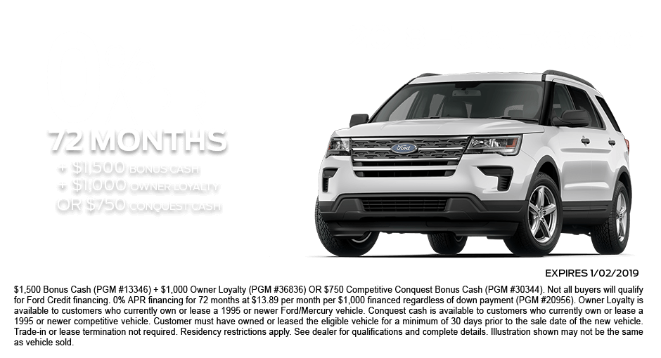 Check out these new car finance specials on the all new Ford Explorer. Contact our dealership in Dickinson for more details!
