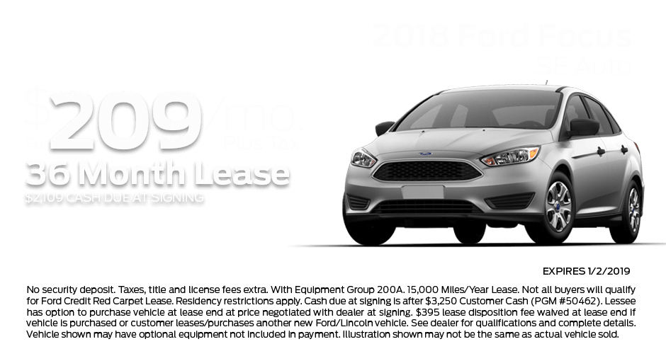 Check out these new car lease specials on the all new Ford Focus. Contact our dealership in Dickinson for more details!