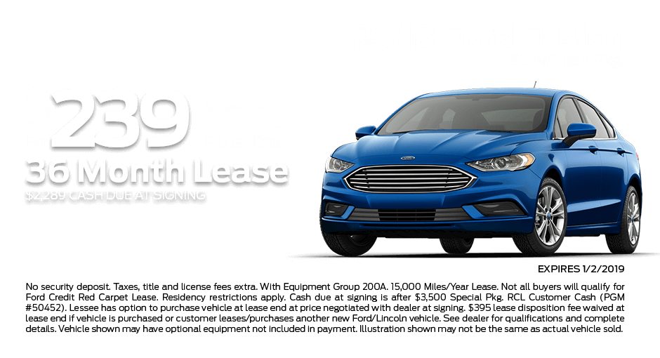 Check out these new car lease specials on the all new Ford Fusion. Contact our dealership in Dickinson for more details!