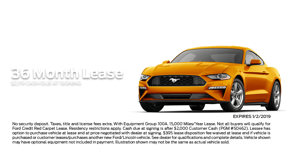 Check out these new car lease specials on the all new Ford Mustang. Contact our dealership in Dickinson for more details!