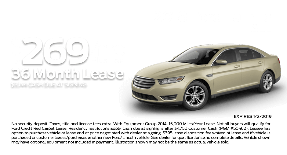 Check out these new car lease specials on the all new Ford Taurus. Contact our dealership in Dickinson for more details!